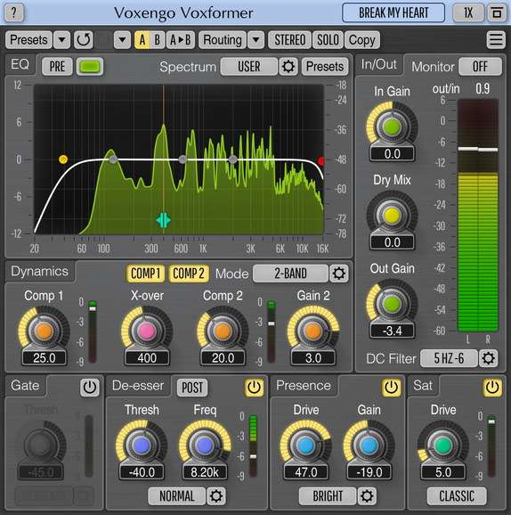 Voxengo Voxformer VST for Mac OS X full screenshot