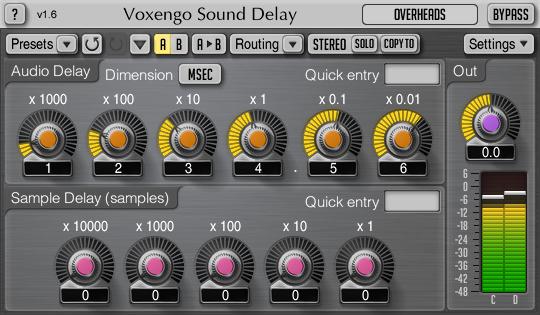 Voxengo Sound Delay 1.6 Screenshot